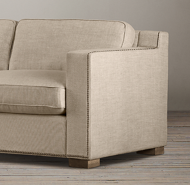 9' Collins Upholstered Sofa With Nailheads