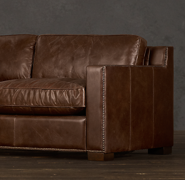Collins Leather Sofa With Nailheads