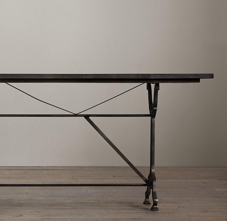 Zinc Cast Iron Rectangular Dining Table