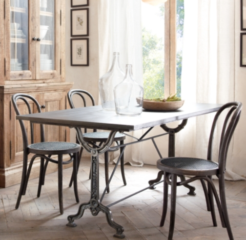 Factory Zinc Cast Iron Rectangular Dining Table