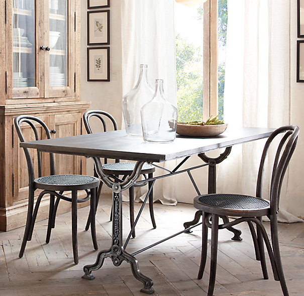 factory zinc & cast iron rectangular dining table