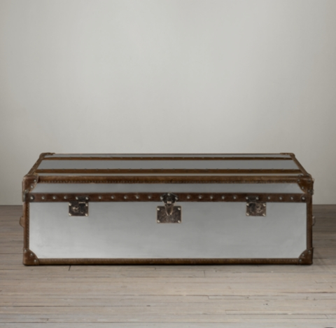 Mayfair Steamer Trunk Coffee Table Brushed Steel