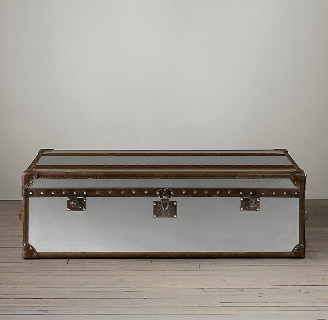 Fantastic Mayfair Steamer Trunk Coffee Table Brushed Steel Pdpeps Interior Chair Design Pdpepsorg