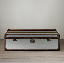 Mayfair Steamer Trunk Coffee Table - Brushed Steel