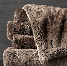 Luxe Faux Fur Oversized Bed Throw - Mink