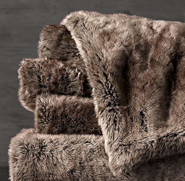 Luxe Faux Fur Oversized Bed Throw Mink