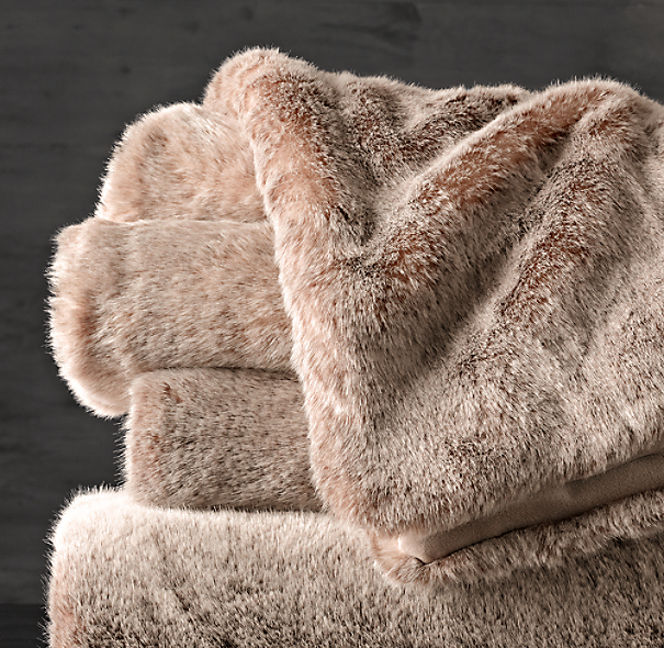 Luxe Faux Fur Oversized Bed Throw Lynx