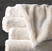 Luxe Faux Fur Oversized Bed Throw - Arctic Fox