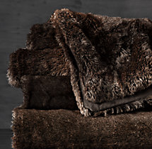 Luxe Faux Fur Oversized Bed Throw - Sable