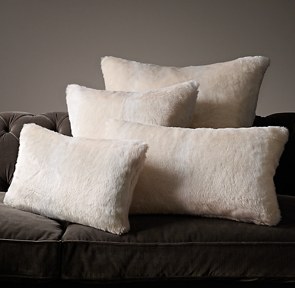 Luxe Faux Fur Pillow Cover Arctic Fox