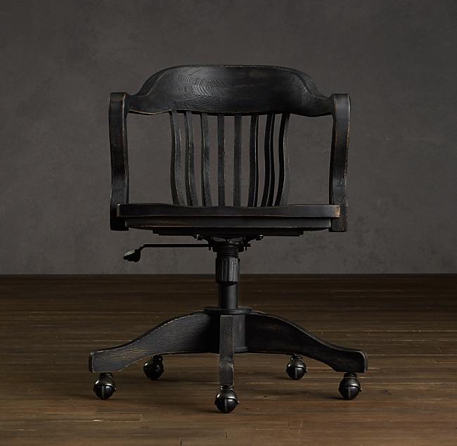 1940s banker s chair antiqued black - Vintage Wooden Desk Chair. Vintage Oak Office Chair Etsy. Antique