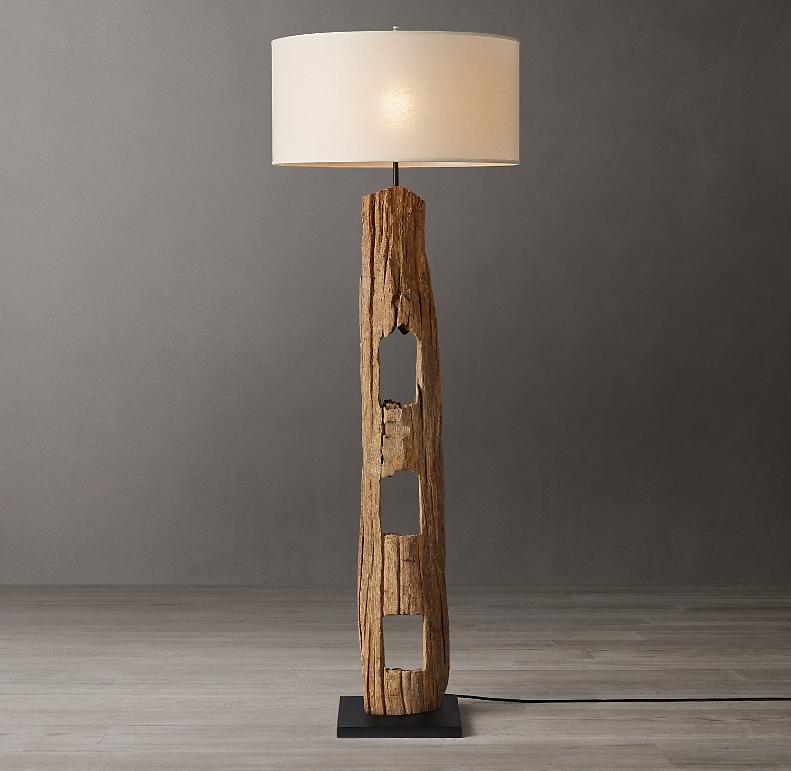 Weathered Wood Post Floor Lamp