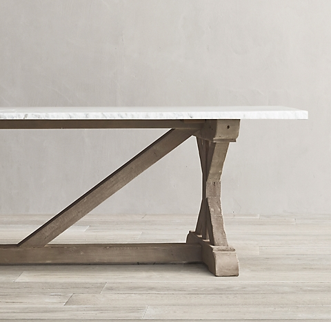 Salvaged Wood Marble X Base Dining Table Collection Rh