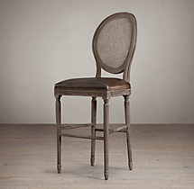 Vintage French Round Cane Back Leather Stool