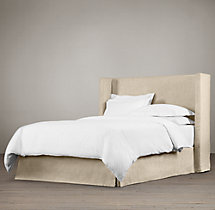 Belgian Shelter Slipcovered Headboard with Bed Skirt