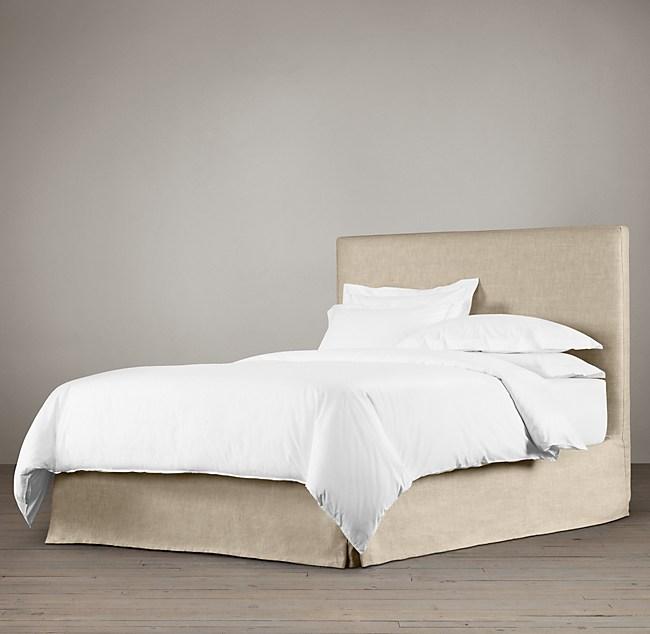 Belgian Parsons Slipcovered Headboard With Bed Skirt