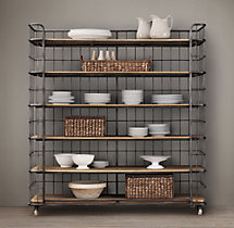 Circa 1900 Caged Baker's Rack Wide Single Shelving