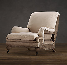 Deconstructed English Roll Armchair Antiqued Linen