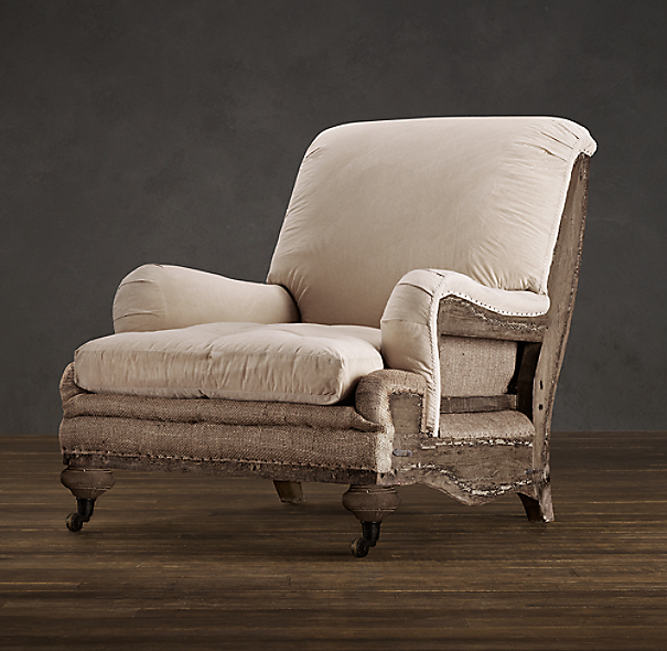 Deconstructed english roll arm chair antiqued cotton for Restoration hardware furniture manufacturer