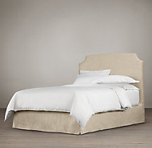 Belgian Slope Slipcovered Headboard with Bed Skirt