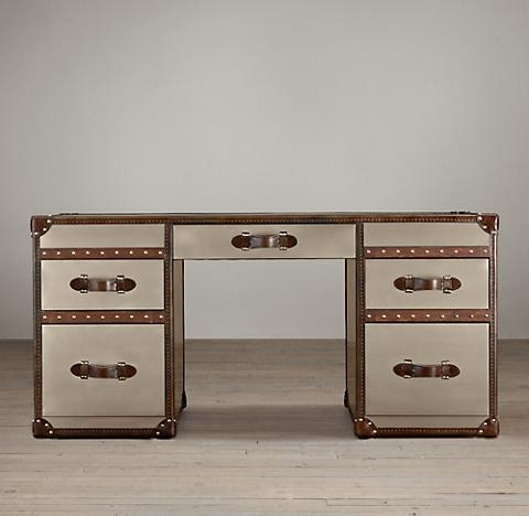 Mayfair Steamer Trunk 5-Drawer Desk - Brushed Steel