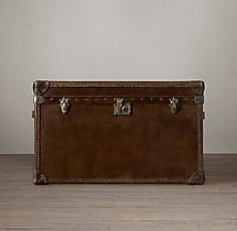 Mayfair Steamer Trunk Tall Coffee Table - Vintage Cigar