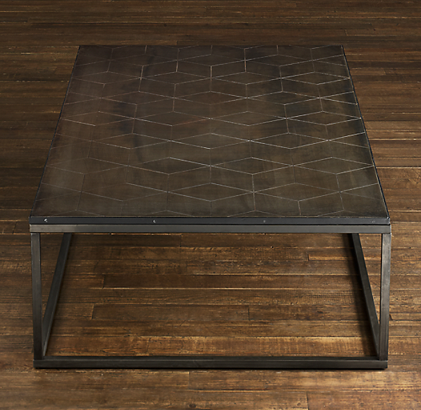 Metal parquet coffee table Restoration coffee tables