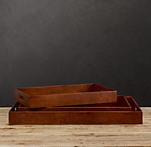 Artisan Leather Trays Rectangular - Chestnut
