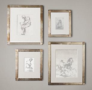 antiqued nailhead gallery frames zinc
