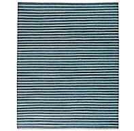 Pinstripe Flatweave Rug Blue Ivory