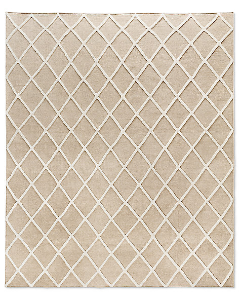 Diamante Flatweave Linen Rug - Natural/Light Grey