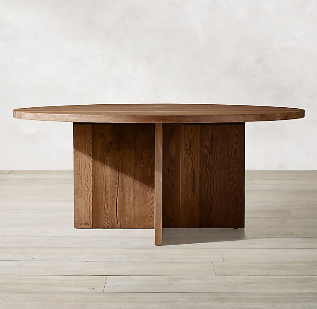 Oak Brûlé Plank Round Dining Table