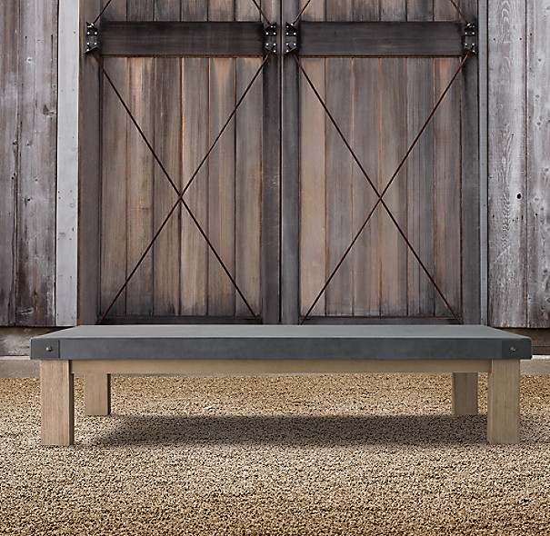 Belgian Trestle Coffee Table Concrete Amp Teak