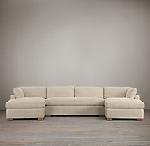 Preconfigured Belgian Slope Arm Upholstered U-Chaise Sectional