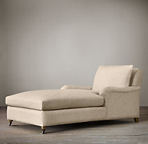 Belgian Classic Roll Arm Upholstered Chaise