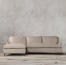 Preconfigured Belgian Classic Roll Arm Upholstered Left-Arm Chaise Sectional