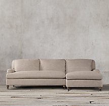 Preconfigured Belgian Classic Roll Arm Upholstered Right-Arm Chaise Sectional