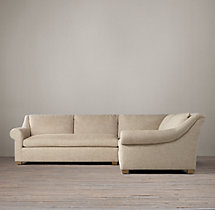 Preconfigured Belgian Roll Arm Upholstered Corner Sectional