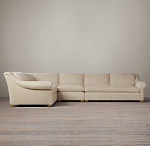 Belgian Roll Arm Upholstered L-Sectional