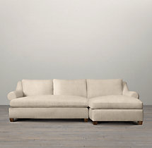 Preconfigured Belgian Roll Arm Upholstered Right-Arm Chaise Sectional