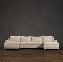 Preconfigured Belgian Roll Arm Upholstered U-Chaise Sectional