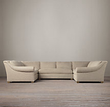 Preconfigured Belgian Roll Arm Upholstered U-Sofa Sectional