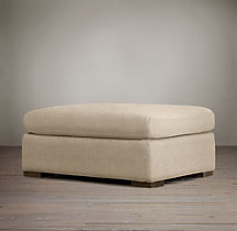 Belgian Petite Roll Arm Upholstered Ottoman