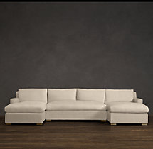 Belgian Track Arm Upholstered U-Chaise Sectional