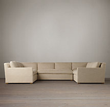 Preconfigured Belgian Track Arm Upholstered U-Sofa Sectional