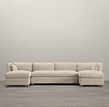 Belgian Shelter Arm Upholstered U-Chaise Sectional
