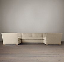 Preconfigured Belgian Shelter Arm Upholstered U-Sofa Sectional