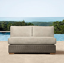 "50"" Biscayne Luxe Two-Seat Armless Sofa Cushions"