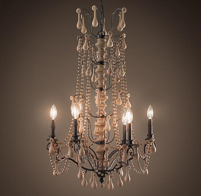 Baroque Wood Crystal Chandelier Large