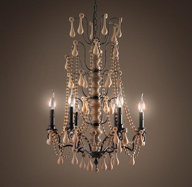 Baroque Wood Crystal Chandelier Medium